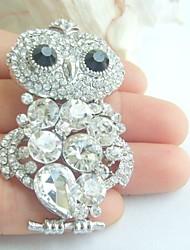 Women Accessories Silver-tone Clear Rhinestone Crystal Brooch Art Deco Bird Owl Brooch Women Jewelry
