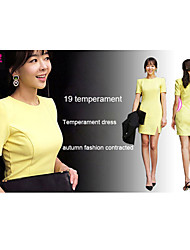Women's Black/Yellow Dress , Bodycon Short Sleeve
