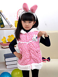 Girl's Winter/Spring/Fall Inelastic Thick Sleeveless Pink Down & Cotton Padded/Vests (Cotton)