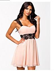 Women's Dresses , Chiffon/Lace Sexy/Lace/Party Sleeveless YLX