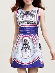 Folisa Women's Fashion Floral Print Tank Dress