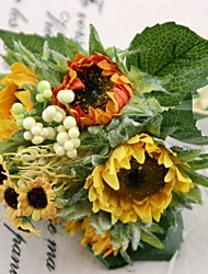 Bridesmaid Bouquets Silk Sunflower Bouquet 2 Bouquets/Lot Each Bouquet 5 Heads for Wedding Decoration