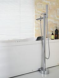 douchette contemporaine inclus / plancher debout baignoire en laiton chromé