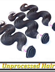 1 año de garantía 3pcs 8 '' - pelo remy 34''brazilian teje la onda del cuerpo color de pelo negro natural remy virginal del pelo