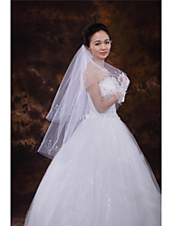 Wedding Veil Two-tier Fingertip Veils Cut Edge Tulle White Ivory Beige