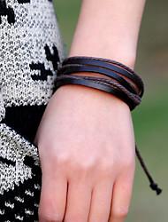 Women's Casual Leather Bracelet Handmade Hemp Rope Bracelet (12Pices/Set)