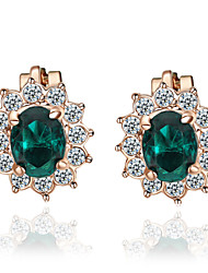 T&C Women's Lovely Green Crystal Clip-On Earrings Sun Flower 18K Rose Gold Plated Fashion Jewelry