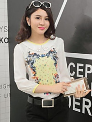 Women's Print White Blouse , Round Neck/Shirt Collar Long Sleeve Hollow Out/Flower