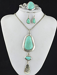 Toonykelly Vintage Look Turquoise Stone(Earring and Bracelet and Necklace) Jewelry Set