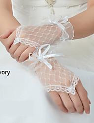 Wrist Length Fingerless Glove Net Bridal Gloves