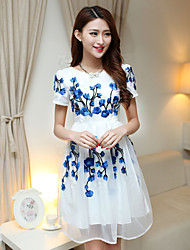 Women's Floral Blue Dress , Casual Round Neck Short Sleeve Embroidery
