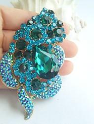 Women Accessories Gold-tone Turquoise Rhinestone Crystal Brooch Wedding Bouquet Bridal Deco Flower Brooch
