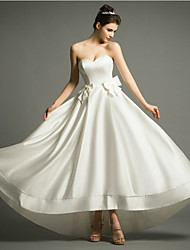 A-line Wedding Dress Asymmetrical Sweetheart Satin with