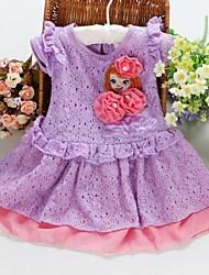Girl's Cotton Blend Dress , Spring Short Sleeve