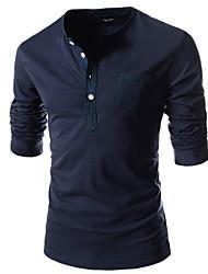 Herren Freizeit/Büro T-Shirt  -  Einfarbig Lang Baumwolle/Baumwollmischung