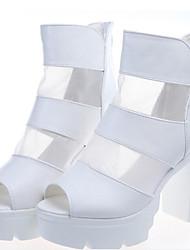 Sandali - Scarpe da donna - Tacco spesso - Tacco spesso DI Gomma - Nero/Bianco