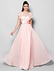 Formal Evening Dress - Blushing Pink A-line Jewel Floor-length Chiffon