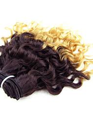 "Lote 8 cabelo virgem brasileiro um pcs ""ombre # 27 extensões de cabelo brasileiros humanos cabelo onda bundlescurly profunda"