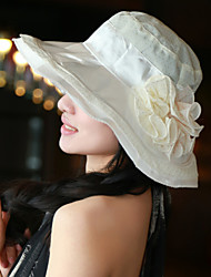 Women Cute/Casual Summer Flower Polyester/Satin Floppy Hat