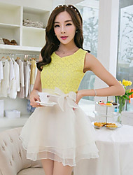 Women's Yellow Dress , Cute Sleeveless