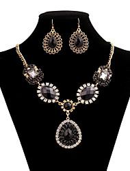 Women's Necklace Suit Fashion Vintage Luxurious Gem Pendant Necklace+Rings