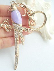 Pretty Bird Magpie Key Chain Pendant With Clear Rhinestone crystals