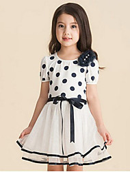 Girl's Polka Dot Print Stitching Mesh Dress