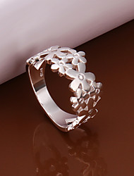 Sweet Flower Shape  Silver Plated Ring(Silver)(1Pc)