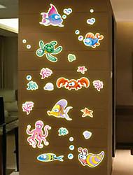 luminosa pegatinas de pared de estilo calcomanías colorido mundo submarino pegatinas de pared del pvc