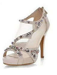 Women's Shoes Stiletto Heel Peep Toe Pumps/Heels Wedding/Party & Evening/Dress Black/Beige