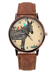 Уникальная модель зебры PU Кожаный ремешок наручные часы (коричневый) (1шт)
