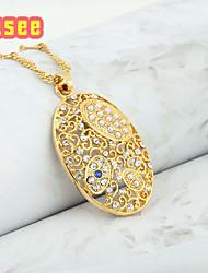 Fashion 18K Golden Plate Rhinestone Pendant Necklace With Imitation Pearl