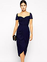 Women's Sweetheart Neckline Cascading Jersey Evening Dress