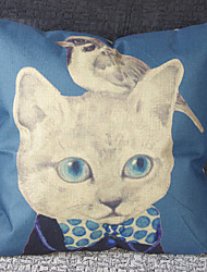 Cats and Birds Linen Cushion for Leaning on Sofa Cushion for Leaning on Set Hold Pillow Cushion for Leaning on Set