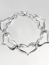Casual Silver Plated Heart Design Link/Chain Bracelet Chain & Link Bracelets Hot Selling Products