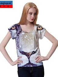 MCFC®Women's Print T-Shirt Fashion 3D Print Pullover T-shirt Bodycon Slim Uundershirt Casual All-Match Top Clothing