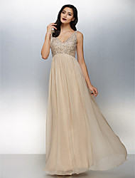 A-Line V-neck Floor Length Chiffon Formal Evening Dress with Beading by TS Couture®