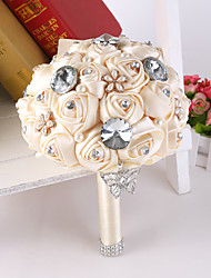 Fleurs de mariage Rond Roses Pivoines Bouquets Mariage La Fête / soirée Satin Soie Dentelle Strass Env.24cm