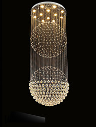 LED Pendant Light Modern Crystal Chandelier 12 Lights Silver Canpoy Clear Crystal  Globe Ceiling Lamps Fixtures