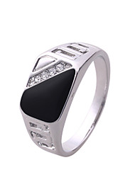 Ibecci Silver Black Rings for Men with Rhinestone