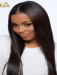 "8""-26"" Indian Virgin Hair Straight Glueless Lace Wig Lace Front Wig Color #2 With Baby Hair for Black Women"