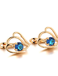 Hoop Earrings Colorful Zircon Cubic Zirconia Gold Plated Jewelry For 2pcs