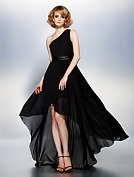 Homecoming Dress - Black A-line One Shoulder Asymmetrical Chiffon