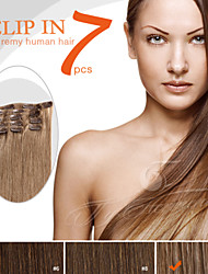 """7 Pieces 18"""" 100g Clip in Ty.Hermenlisa 100% Peruvian Remy Human Hair Dark Color"""