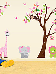 Zoo Monkey Lion Elephant Cartoon Wall Stickers For Kids Rooms Zooyoo216 Decorative  Removable Pvc Wall Decal
