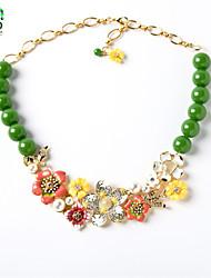 Women Flower Crystal Necklace