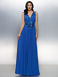 A-Line V-neck Floor Length Chiffon Formal Evening Dress with Criss Cross Sequins by TS Couture®