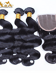 10''-30'' Indian Virgin Hair Body Wave Unprocessed Human Hair Lace Closure with Wefts Indian Body Wave Hair