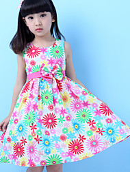 Girls Daisy Flower Print Party Pageant Children Clothing  Dresses (100% Cotton)