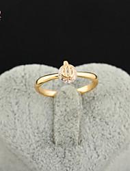 KuNiu Women's High Quality Classic 18K Gold Plated White Zircon Wedding Rings J0315